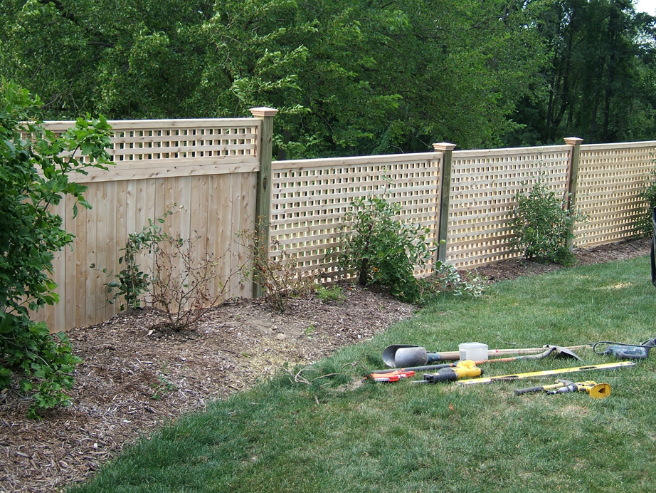 Square Lattice Panels, On Pressure Treated 5x5 Posts, with Federal Post Caps