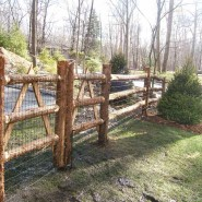 Rustic Cedar Post and Rail with Black Woven Wire