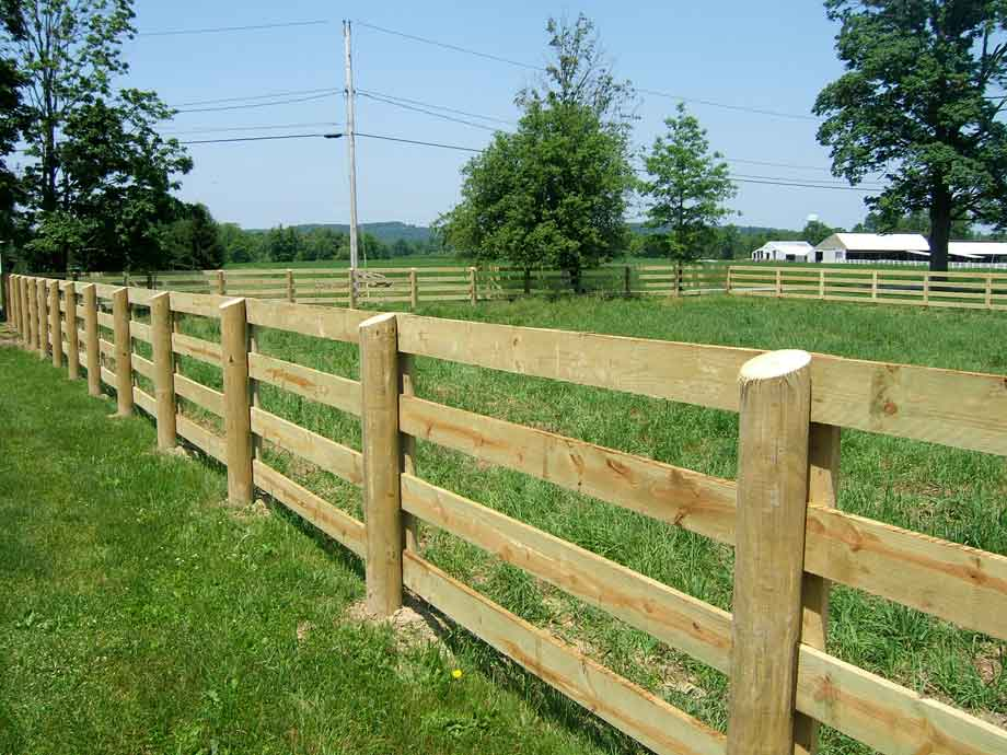 4 Rail Horse Fence with Face Boards on 6' Round Posts